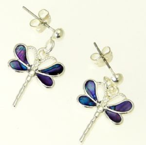 Purple Abalone Paua Shell Dragonfly Earrings In Gift Box - D